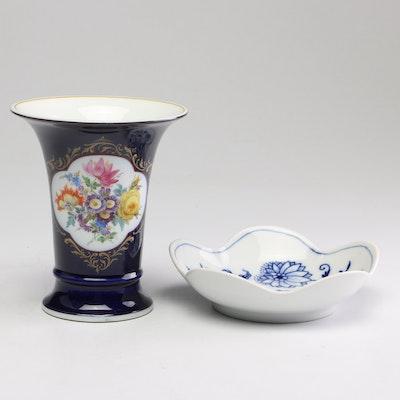 Meissen Trinket Dish and Vase, Mid 20th Century