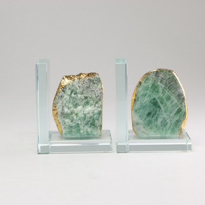 Green Fluorite, Glass, and Gold Leaf Bookends, 21st Century