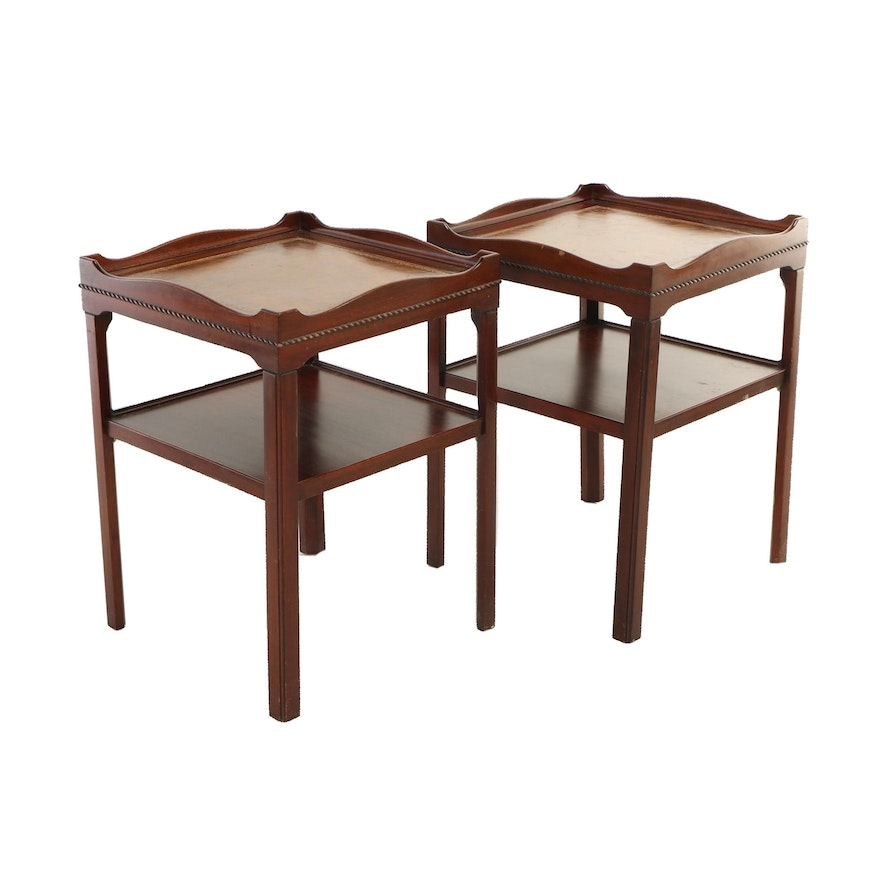 Pair of George III Style Mahogany and Leather-Mounted Side Tables, 20th Century