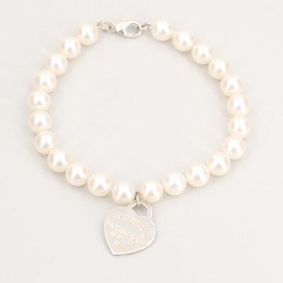 "Tiffany & Co. ""Return to Tiffany"" Sterling Silver Cultured Pearl Bracelet"