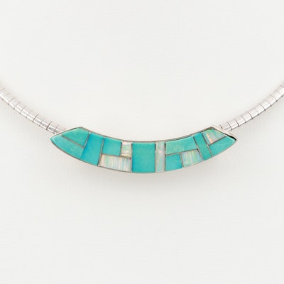 Southwestern Sterling Turquoise and Synthetic Opal Slide Pendant Necklace
