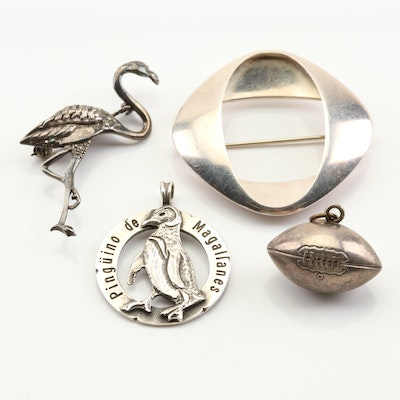 Assorted Sterling Silver Brooches, Pendants and Charm