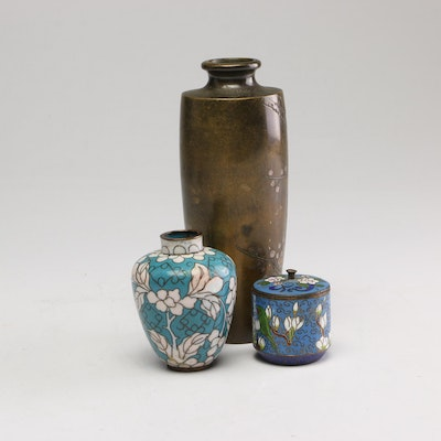 Japanese Etched Bronze and Chinese Cloisonné Vases