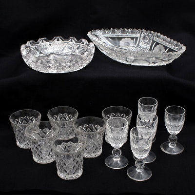 American Brilliant Period Cut Glass Bowls, Cups, and Cordial Glasses