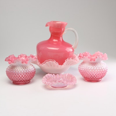 Pink Art Glass Vases and Compotes with Pitcher