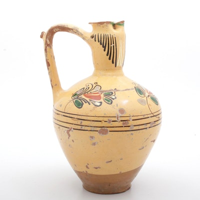 Hand-Painted Earthenware Puzzle Jug, Late 19th to Early 20th Century