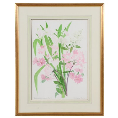 """Late 20th Century Watercolor Painting """"Softly Pink"""""""