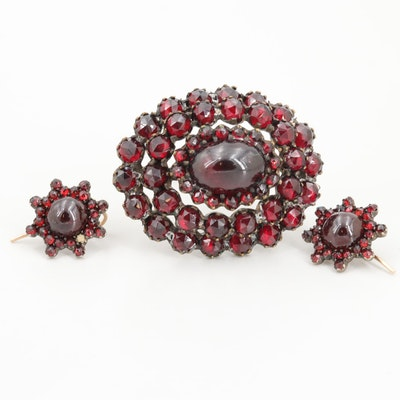Victorian 10K White Gold and Gold Tone Garnet Brooch and Earrings