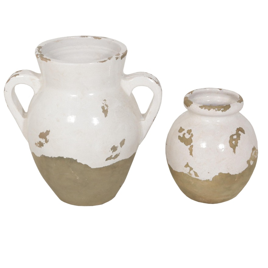 Reproduction Stoneware French Style Confit Jar and Vase