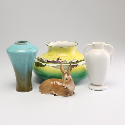 Ceramic Deer Figurine with Decor Vases Including Erphila and Haynes Ware
