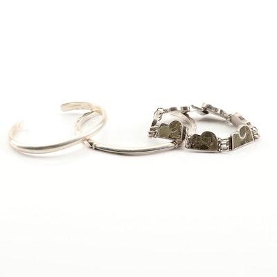 Sterling Silver Pressed Stone Inlay Bracelet with Sterling Silver Cuff Bracelets