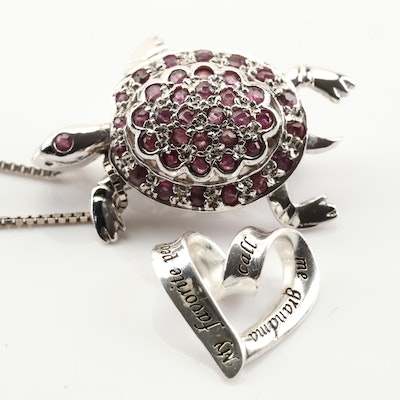 Sterling Silver Ruby Turtle Pendant Necklace with Sterling Silver Heart Pendant