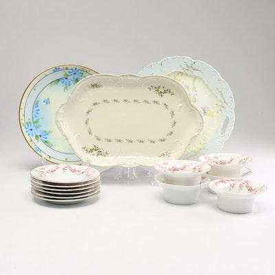 Schwartzburg Custard Cups and Saucers with Other Antique China