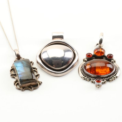 Sterling Silver Chain with Sterling Silver, Faux Amber and Labradorite Pendants