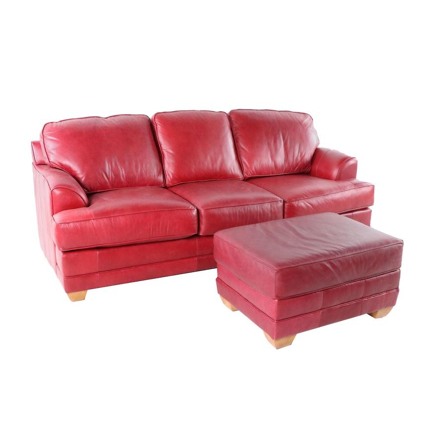 La-Z-Boy Signature Leather Burgundy Sofa with Ottoman, Contemporary