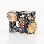 Sterling Silver Glass Filled Corundum, Iolite and Emerald Tree Trunk Design Ring
