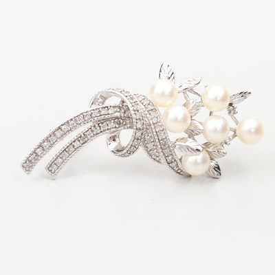 14K White Gold Cultured Pearl and Diamond Brooch