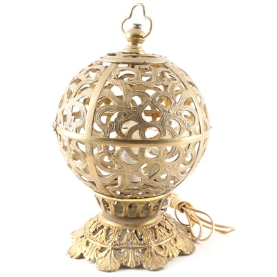 Brass Pierced Orb Table Lamp