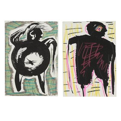 Merle Rosen 1991 Mixed Media Drawings
