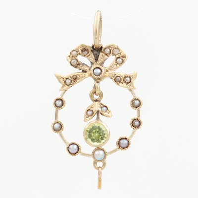 Circa 1910 14K Yellow Gold Pendant with Peridot and Seed Pearls