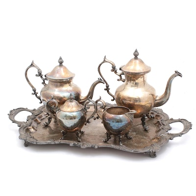 Birmingham Silver Co Silver Plate Coffee and Tea Service with Baroque Style Tray