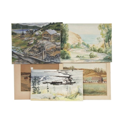 Landscape Pastel Drawing and Watercolor Paintings