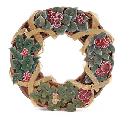 City Sign Inc. Carved Oak Holiday Wreath