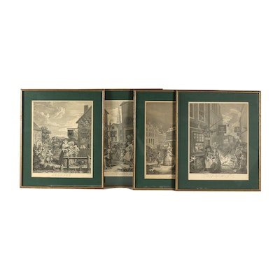 """Engravings After William Hogarth """"The Four Times of Day"""""""