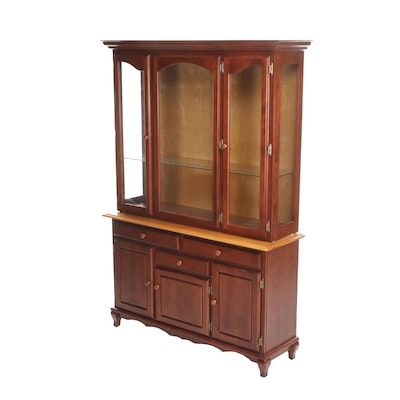 Contemporary Colonial Style Mahogany Finished China Cabinet