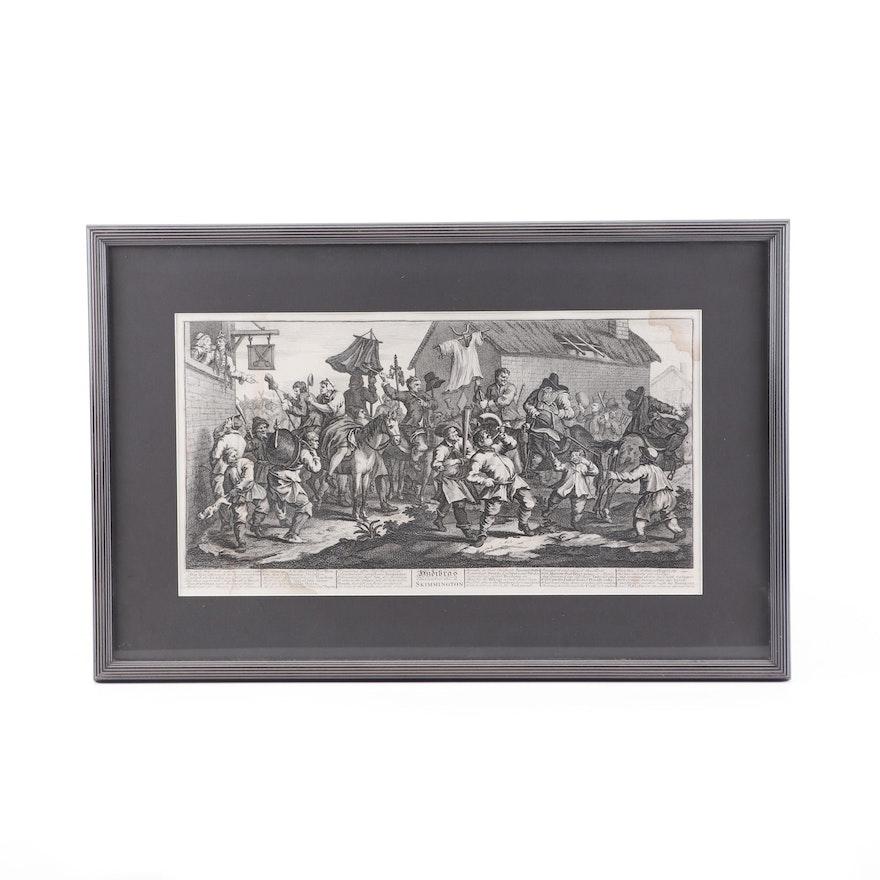 "Engraving of William Hogarth ""Hudibras Encounters the Skimmington"""