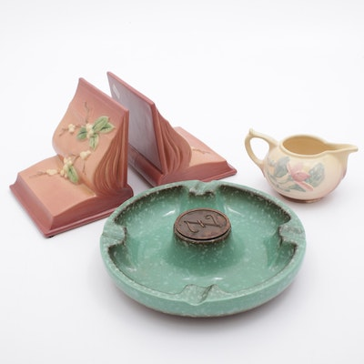 Roseville and Hull Pottery Ashtray, Book Ends, and Pitcher