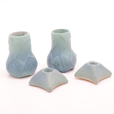 "Van Briggle Pottery ""Onion Bulb"" Ming Blue Vases and  Candleholders"