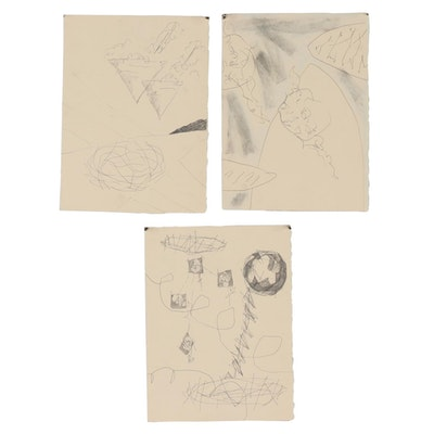 Merle Rosen Abstract Graphite and Ink Drawings