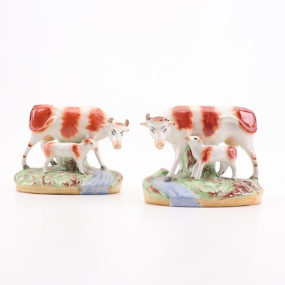Old Staffordshire Ware England Porcelain Cow Figurines, circa 1900