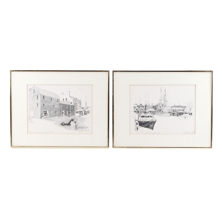 """R.E. Kennedy Lithographs """"Bowen's Wharf"""" and """" Bannister's Wharf"""""""