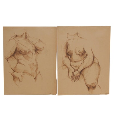 James Wilson Rayen Marker Drawings of Female Nudes