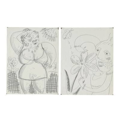 Merle Rosen Abstract Figural Graphite Drawings