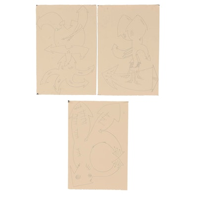 Merle Rosen 1989-1990 Abstract Graphite Drawings