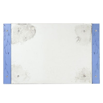 Wall Hanging Mirror with Etched Blue Borders, Vintage
