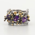 Sterling Silver Amethyst and Citrine Tree Trunk Design Ring