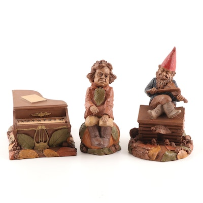 "Tom Clark Gnome Figurines, ""Beethoven"", ""Fiddler"" and ""Piano"", Circa 1980's"