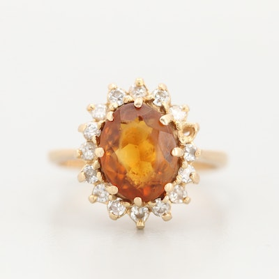 14K Yellow Gold Citrine with a Diamond Halo Accent Ring