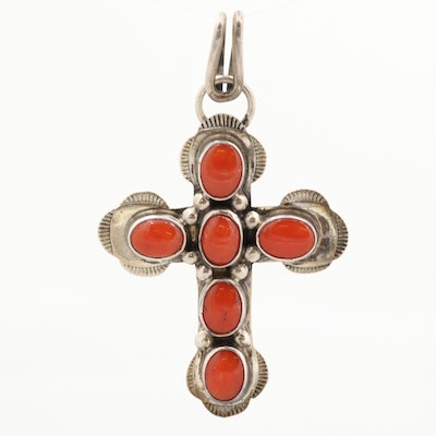 Southwestern Sterling Silver Coral Cross Pendant