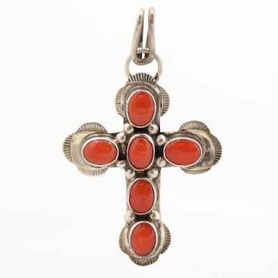 Southwestern Sterling Silver Coral Cross Pendant
