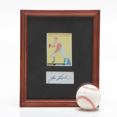 Joe Nuxhall Signed Baseball and Framed Cut Signature Display, COA