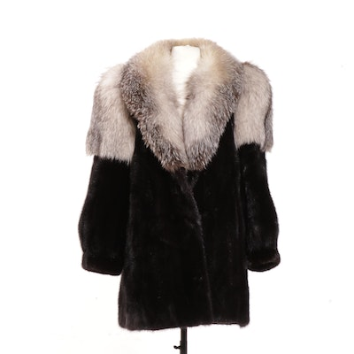 Ranch Mink and Platinum Fox Fur Stroller from Burkholder Furs, Late 20th Century