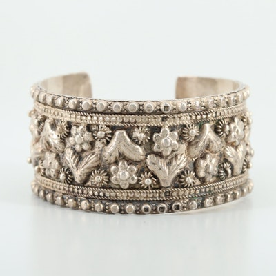 Thai Sterling Silver Floral Motif Cuff Bracelet