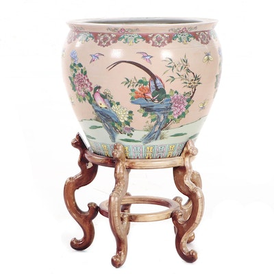 Chinese Hand-Painted Earthenware Fish Bowl Planter with Stand