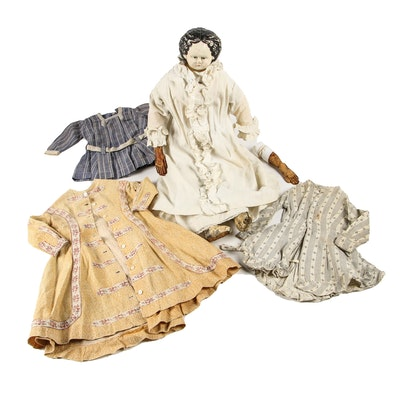 Ludwig Greiner Papier-mâché Rag Doll with Extra Clothing, Mid-Late 19th Century