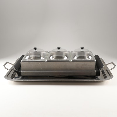 Bella Cucina Triple Buffet Server with Warming Tray and Over-sized Serving Tray